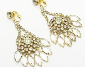 Long Rhinestone Earrings Statement Vintage Jewelry E7163