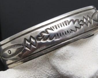 Sterling Cuff Bracelet Native American Signed Jewelry B7462