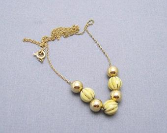 14K Gold Chain Necklace 14K Gold Beads White Shrimp Beads N6895