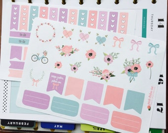 Pastel Floral and Bike Planner Stickers Set