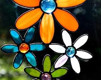 Stained Glass, Multi Colored, Suncatcher, Flower Cluster, Orange Purple Teal, Window Art