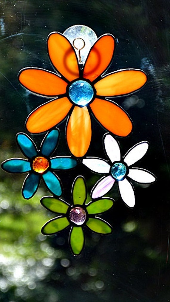 Stained Glass Multi Colored Suncatcher Flower Cluster