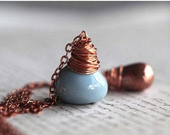 50% Off Pale Blue Opal and Copper Pendant, Double Strand Necklace, Wire Wrapped, Layering Necklaces, Gift Box
