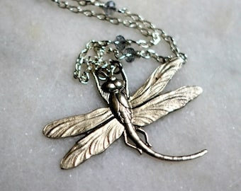 October Sale Dragonfly Pendant, Silver Necklace, Long Necklace, Crystal Chain, Swarovski Crystal