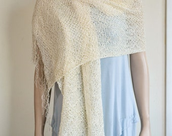 Lace stitch ivory cream white wrap shawl stole rayon yarn knit knitted fringes