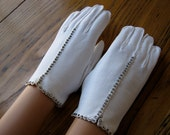 Vintage White Dress Gloves, Vintage Gloves, White Gloves, Dress Gloves, Rhinestones, White Gloves, Wedding Gloves, Gloves With Rhinestones