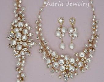 Gold Wedding Jewelry Set Swarovski Crystal Bridal Sets Pearls Wedding Necklace  Gold Bridal Bracelet Cluster Pearls Earrings for Brides
