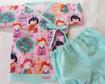 Baby kimono set - LivvySue Kimono Cherry Blossom Garden 0-6 mths, 6-12 mths, 12-18 mths, 18-24 mths