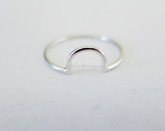 Sterling Silver Half Circle Stacking Ring - Solid 925 - Insurance Included