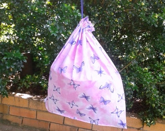 Large drawstring library bag for girls, butterflies purple/pink, toy or storage bag