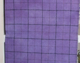 PRETTY PURPLE PLAID hand-dyed wool for rug hooking, appliqué, quilts