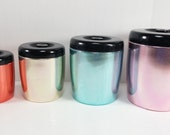 Vintage West Bend Canister Set Mid Century Vintage Set of 4 Nesting Flour Sugar Tea Coffee blue pink gold red