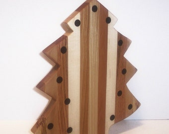 Big CHRISTmas Tree Cheese Cutting Board Handcrafted from Mixed Hardwoods