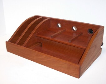 Charging Station/Docking Station in Cherry Hardwood with Power Strip for iPad, Kindle, Nook, iPhone, cell phone