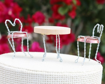 Pair of Sidewalk Cafe Chairs Wedding Cake Topper