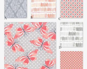 Coral Gray Crib Baby Bedding, Butterfly Nature Stroll in Blush