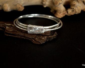 rustic silver bangles handmade artisan jewelry wabi sabi  recycled silver Eco friendly set