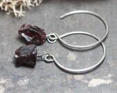 Garnet Earrings Rough Gemstone Earrings Sterling Silver Hoops Rustic Jewelry