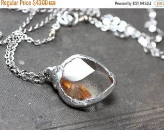 On Sale Quartz Heart Necklace Clear Quartz Gemstone Necklace Rustic Jewelry Silver Soldered Pendant