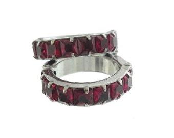 Ruby Vintage Earrings, Ruby Crystal Hoops, 1940s Fine Vintage Jewelry, French Cut Rhinestone Earrings