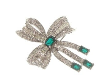 Emerald Art Deco Brooch, Baguette Bow Rhinestone, 1930s Antique Rhinestone, Wedding Jewelry, Vintage Jewellery