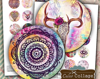 Wander Digital Collage Sheet - 1.5 inch Circles - Bohemian Images - Printable Download - For Pendants Bezel Cabochons - Boho Collage Sheet