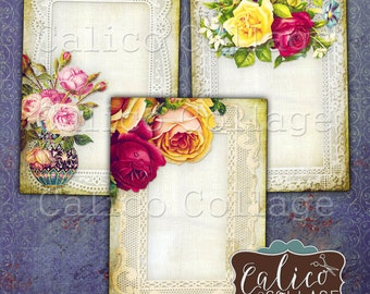 Flowers and Lace, Collage Sheet, Earring Cards, Jewelry Cards, Journal Spots, Printable Tags, Digital Download, Digital Tags