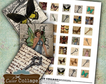Keys Butterflies and Fairies Digital Collage Sheet 1x1 Inch Inchies for Pendants, Resin Jewelry, Glass, Bezel Settings, Calico Collage