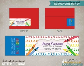 Crayon Scribble Custom Wrap Around Return Address Label Template, Instant Download #B135