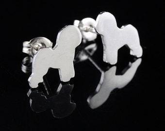 Bichon Frise Sterling Silhouette Earrings