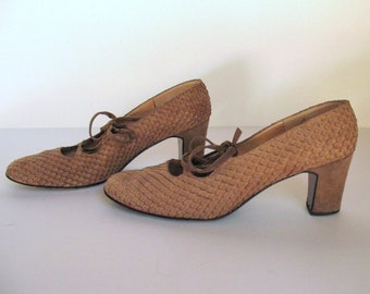 1960s SPANISH REPTILE SKIN and suede lace up heels for I. Magnin, 7.5