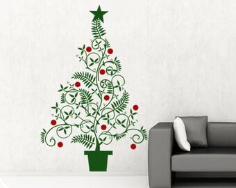 Christmas Decal Christmas Decoration Christmas Tree Vinyl Wall Decal Sticker Christmas DIY Holiday Sign Holiday Decoration Christmas Tree