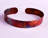 New Etched copper badger cuff bracelet, extra slim size