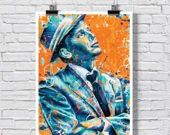 "Poster Print 18 x 24""  - Frank Sinatra - Ol blue eyes, jazz, singer, rat pack, 50's, 60's"