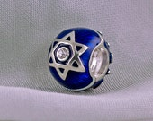 Star of David & Chai Judaica JewelryJewish Bead /Large Hole Bead/Silver 925 Navy Blue Enamel Slider for Bracelet/Bat Mitzvah Gift for Her