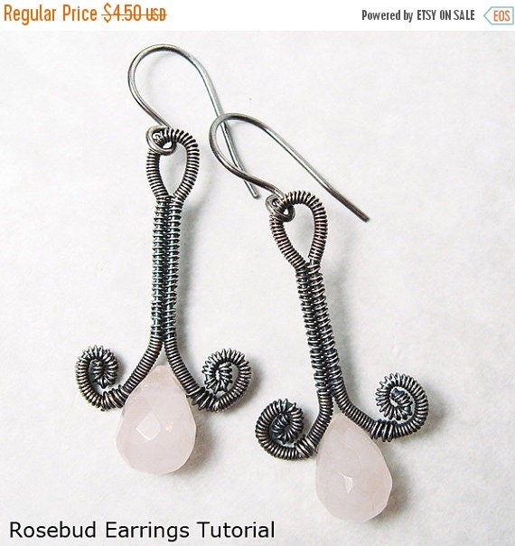 Summer Sale - 10% off - Rosebud Earrings Wire Woven EarringsTutorial