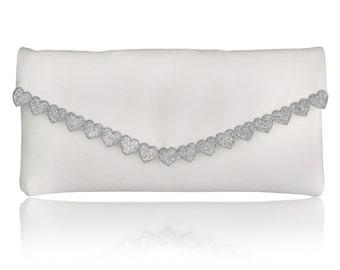Ivory and silver heart Etta clutch purse