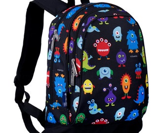 Monogram Backpack and Lunch Bag Set - Wildkin - Personalized - Monsters - Back to School Elementary
