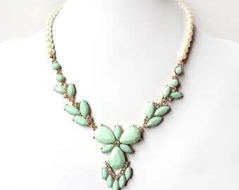 Mint Green Petal Necklace - Acrylic Mint and Gold Necklace - Beaded Statement Necklace - Turquoise Mint Bib Necklace - Ivory or White Pearls