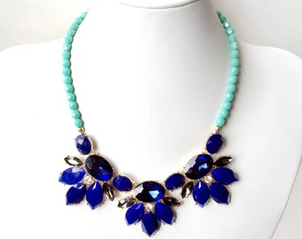 Navy Blue and Mint Statement Bib Necklace - Chunky Gold Necklace - Beaded Statement Necklace - Cobalt Blue, Green, Mint, Teal - Czech Glass