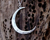 SALE 10% Hammered Crescent Moon Necklace Large Moon Pendant Sterling Silver Moon Necklace artisan feminine jewelry boho charm Christmas gift