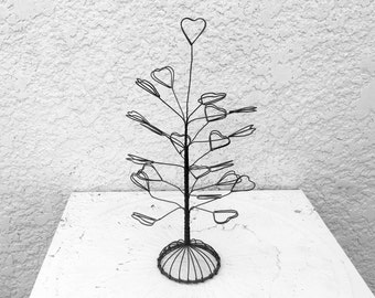 "Metal Jewelry Organizer - ""Hearts""  Earrings Holder,  Wire/Metal Stand"
