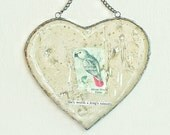 she's worth a king's ransom - antiqued mirror heart collage with chain for hanging on wall or window