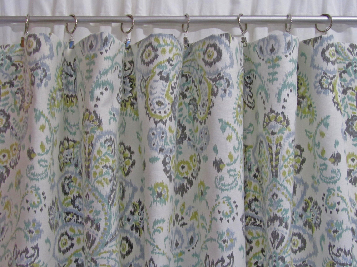 Boho window curtains - Ikat Damask Window Curtains Grey Damask Curtains Gray Green Boho Drapes Modern Curtains Rod Pocket Curtains One Pair Custom 50 W