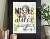 Sister Maid of Honor, MOH Gift, Sister Wedding Gift, Maid of Honor Gift Sister // Choose ArtPaper Print or Canvas // W-Q01-1PS AA9 03P