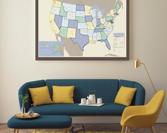 Antique Travel USA Map, INTERACTIVE Family USA Map, Mark places you've visited, Personalized Map / Canvas or Art Print / H-I14-1PS AA3 06P