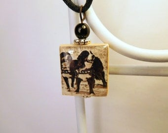 BERNESE MOUNTAIN DOG Jewelry / Scrabble Pendant / Necklace with Cord / Charm