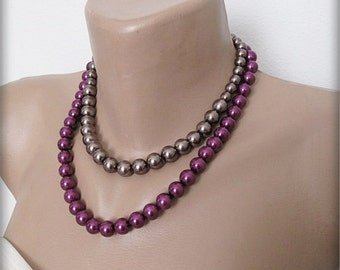 Wedding pearl necklace, Wedding  Bold Bridal, eggplant color-anthracite, pearl, Jewelry, Bridesmaids, Bridal Jewelry