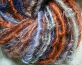 Handspun Hand Dyed Soft Curly Bulky Cotswold Wool Art Yarn in Burnt Orange and Silver Blue by KnoxFarmFiber for Knit Weave Felt Crochet
