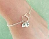 2-DAY 20% OFF SALE Linked eternity bracelet, Two rings, best friends bracelet, personalized friendship bracelet, sister bracelet, husband an
